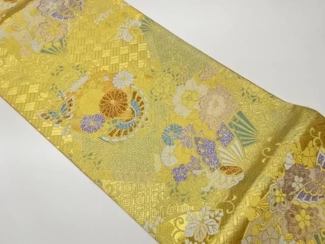 合計3980円以上の購入で送料無料 超激安 花々に蝶模様織出し袋帯 NEW ARRIVAL 中古 リサイクル