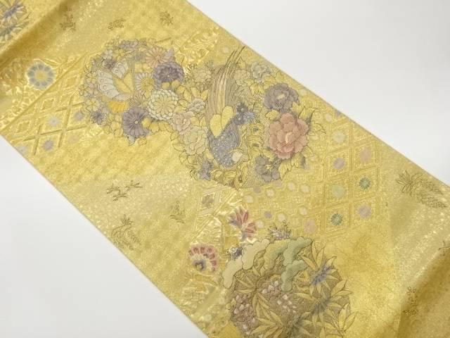 合計3980円以上の購入で送料無料 花々に雉 蝶模様織出し袋帯 再再販 リサイクル 中古 卸直営