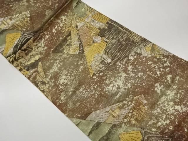 永遠の定番 合計3980円以上の購入で送料無料 未使用品 色紙に風景模様織出し袋帯 割り引き リサイクル 中古