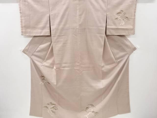 合計3980円以上の購入で送料無料 松模様刺繍手織り節紬一つ紋訪問着 最新アイテム リサイクル 中古 日本正規代理店品