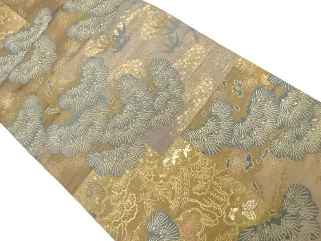 合計3980円以上の購入で送料無料 激安通販販売 松模様織り出し丸帯 日本全国 送料無料 着用可 アンティーク 中古