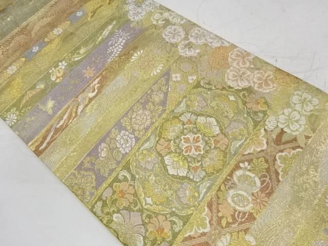 合計3980円以上の購入で送料無料 横段に華紋 鳳凰模様織出し袋帯 現品 日本製 リサイクル 中古