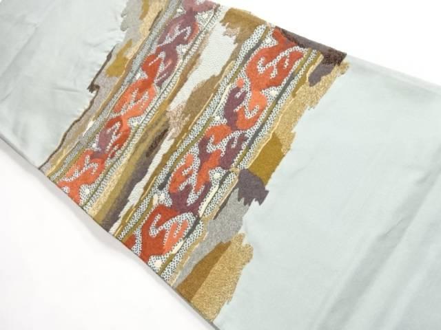 抽象模様織り出し袋帯【リサイクル】【中古】 相良刺繍