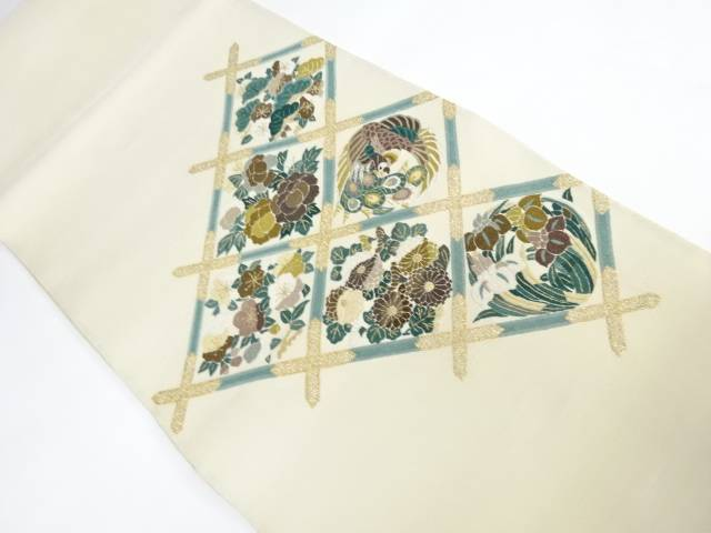合計3980円以上の購入で送料無料 蘇州刺繍菱に花模様袋帯 通常便なら送料無料 中古 リサイクル 安全