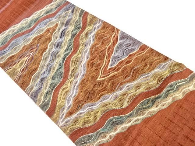 送料無料 合計3980円以上の購入で送料無料 すくい織り抽象模様織り出し袋帯 リサイクル 中古 お中元