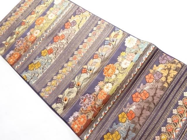 合計3980円以上の購入で送料無料 唐織花飾連段文模様織り出し袋帯 リサイクル 品質検査済 中古 贈物