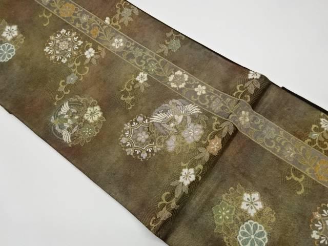 現品 合計3980円以上の購入で送料無料 お買い得品 縞に華紋 鳳凰模様織出し袋帯 中古 リサイクル