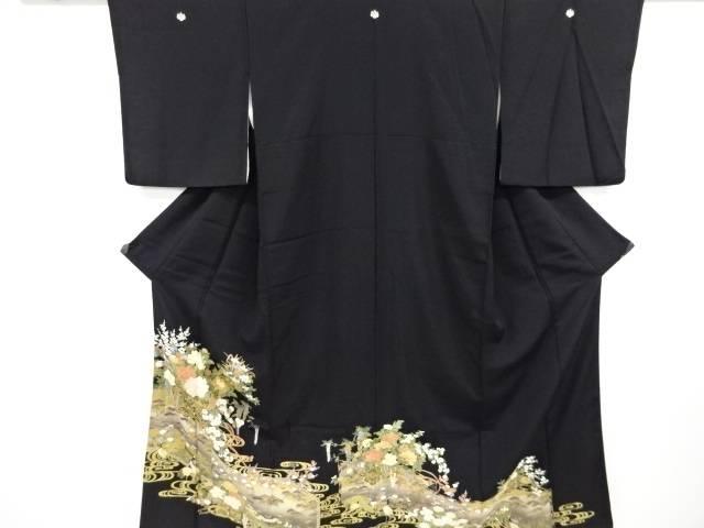 未使用品 合計3980円以上の購入で送料無料 汕頭蘇州刺繍花車に鶴模様留袖 比翼付き 未使用品 中古 リサイクル