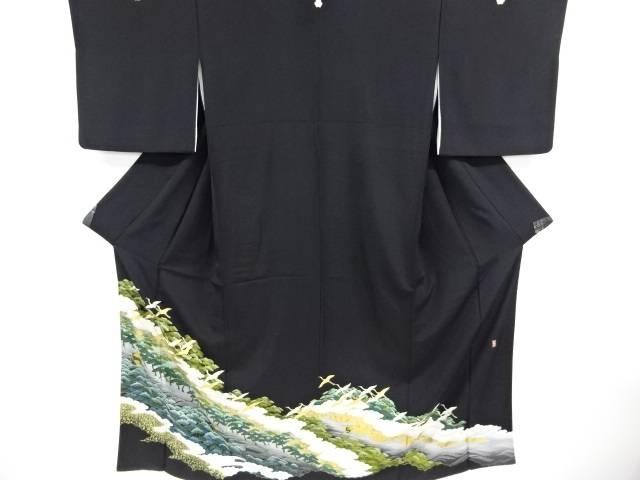 合計3980円以上の購入で送料無料 金彩群鶴に松模様刺繍留袖 ◆在庫限り◆ 比翼付き リサイクル 中古 情熱セール