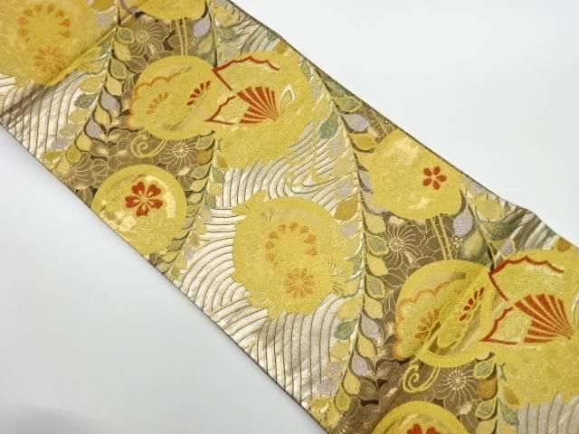 合計3980円以上の購入で送料無料 1着でも送料無料 丸文に蝶 花々模様織出し袋帯 リサイクル 保証 中古