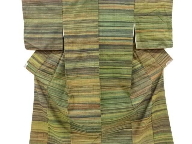 合計3980円以上の購入で送料無料 横段織り出し手織り真綿紬着物 新作入荷!! 正規店 中古 リサイクル