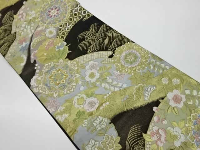 合計3980円以上の購入で送料無料 華紋に草花模様織出し袋帯 中古 リサイクル 店内全品対象 売店