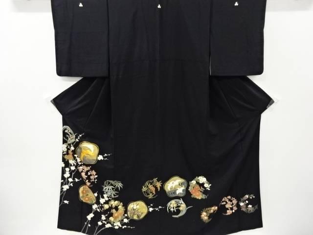 合計3980円以上の購入で送料無料 アウトレット 訳あり 金彩花丸紋に鶴模様刺繍留袖 比翼付き 中古 リサイクル