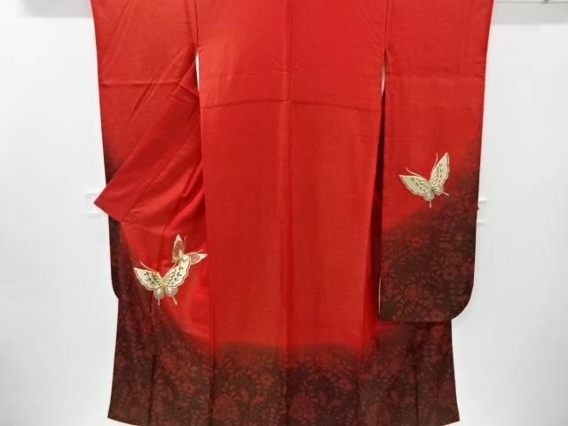 高い素材 合計3980円以上の購入で送料無料 金通し蝶模様刺繍振袖 比翼付き 美品 リサイクル 中古