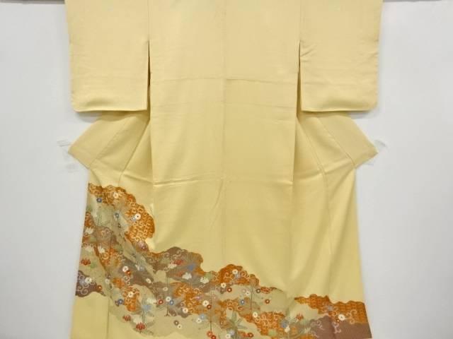金彩松梅に菊唐草模様刺繍三つ紋色留袖(重ね衿付き)【リサイクル】【中古】