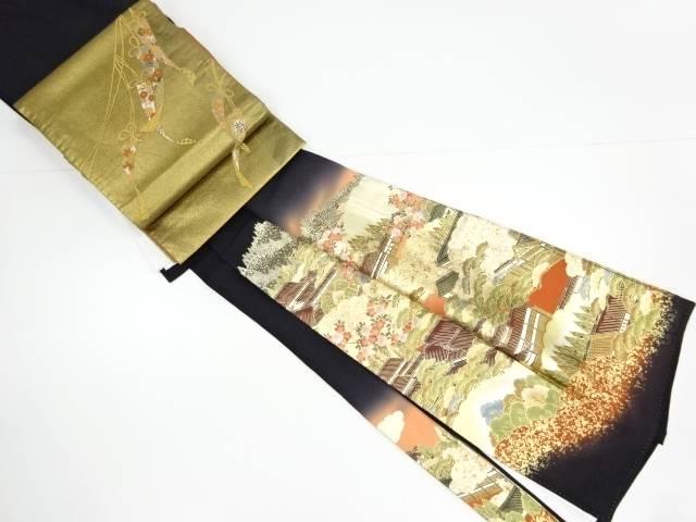卸直営 合計3980円以上の購入で送料無料 作家物 バーゲンセール 箔置町屋風景模様留袖 袋帯セット 中古 リサイクル 比翼付き
