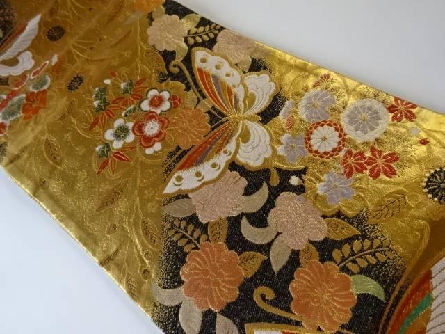蝶・辻ヶ花模様織り出し袋帯【リサイクル】【中古】