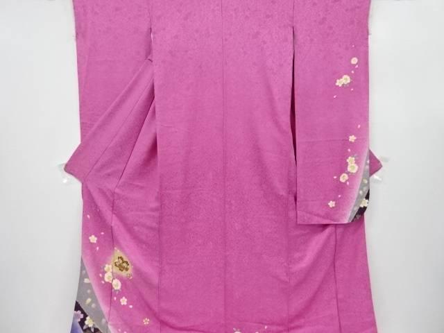 合計3980円以上の購入で送料無料 正規品 桜に毬模様刺繍振袖 重ね衿付き リサイクル 市販 中古