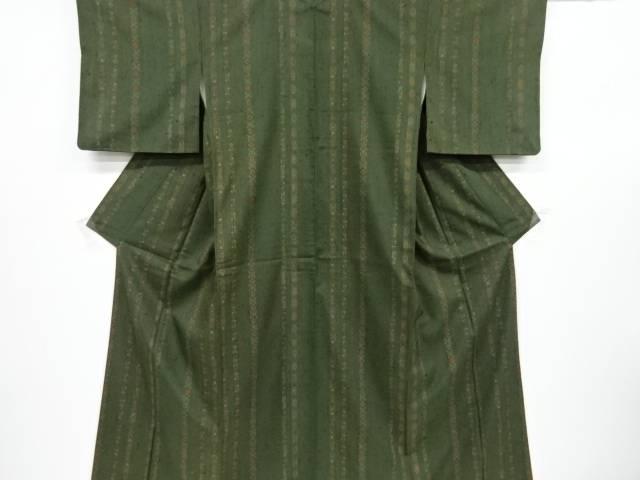 合計3980円以上の購入で送料無料 縞に花更紗模様縦節紬着物 ご注文で当日配送 リサイクル 限定特価 中古