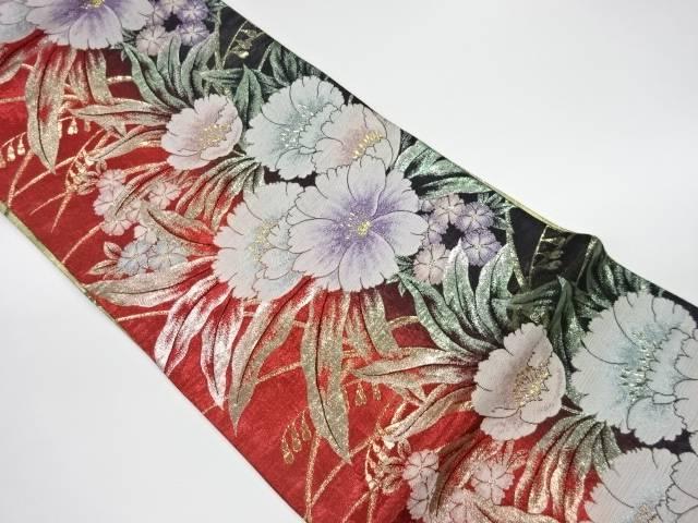 優先配送 合計3980円以上の購入で送料無料 花々模様織出し振袖用袋帯 受賞店 リサイクル 中古