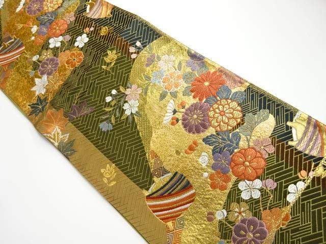 合計3980円以上の購入で送料無料 檜垣に四季花 糸巻模様織り出し袋帯 売り込み リサイクル 現品 中古