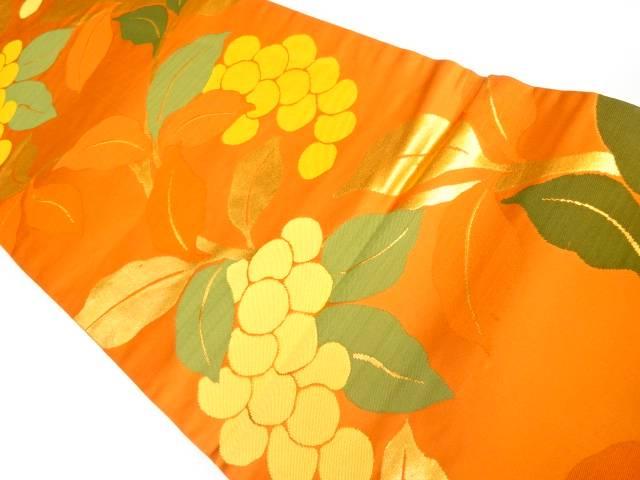 デポー 合計3980円以上の購入で送料無料 植物模様織り出し名古屋帯 限定品 リサイクル 中古