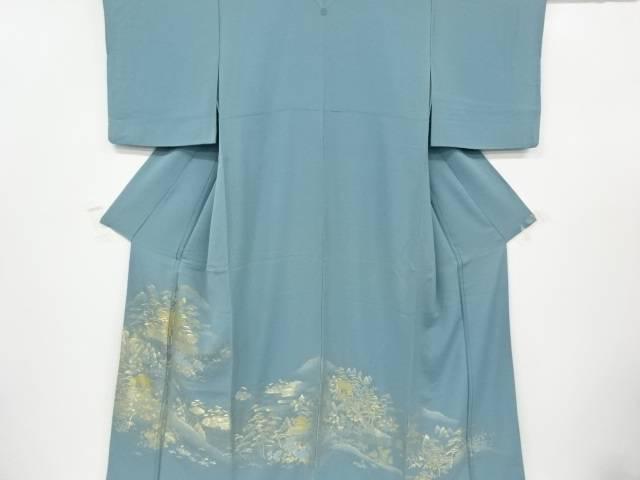 寿光織寺院風景模様織出一つ紋色留袖【リサイクル】【中古】