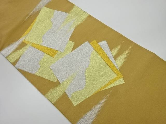 綴れ色紙模様織出し袋帯【リサイクル】【中古】
