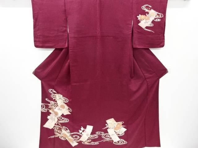合計3980円以上の購入で送料無料 年中無休 短冊に菊楓模様刺繍訪問着 中古 爆買いセール リサイクル