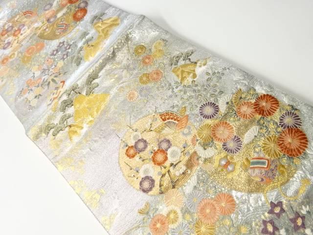 贈答品 合計3980円以上の購入で送料無料 丸紋宝尽模様織り出し袋帯 卓抜 中古 リサイクル