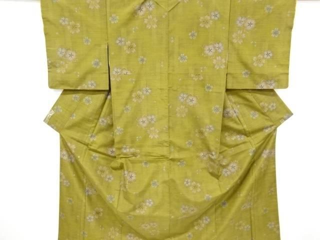 合計3980円以上の購入で送料無料 未使用品 本マルキ桜模様織出手織り紬着物 リサイクル 中古 開店記念セール 買い物