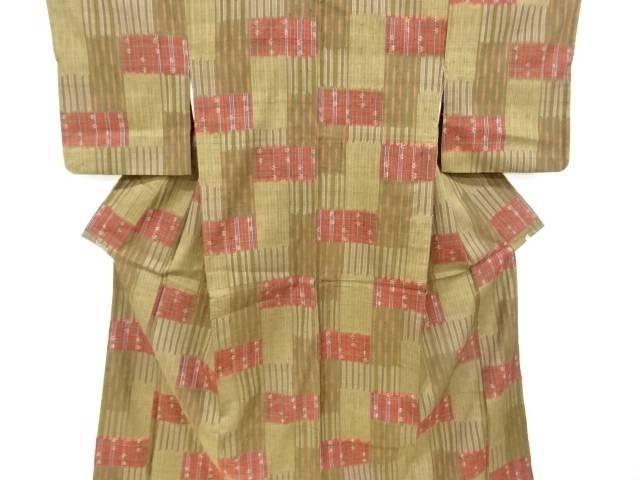 合計3980円以上の購入で送料無料 縞に琉球絣柄織出手織り真綿紬着物 テレビで話題 中古 豊富な品 リサイクル