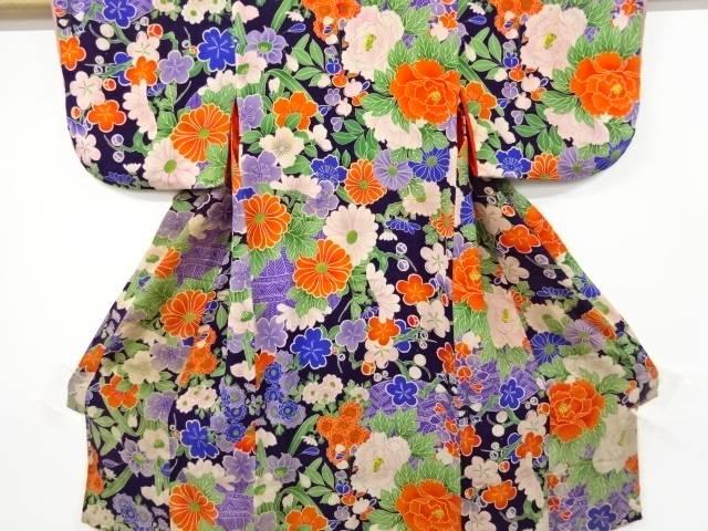 合計3980円以上の購入で送料無料 代引き不可 錦紗花籠模様着物 新着 中古 アンティーク