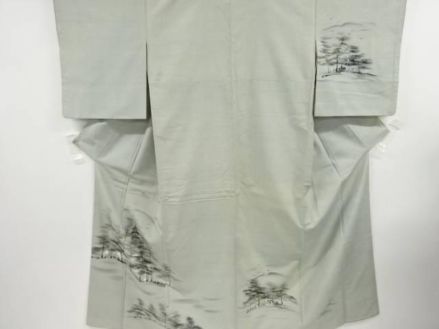 合計3980円以上の購入で送料無料 手描き寺塔 樹木模様手織り真綿紬着物 販売 中古 35%OFF アンティーク