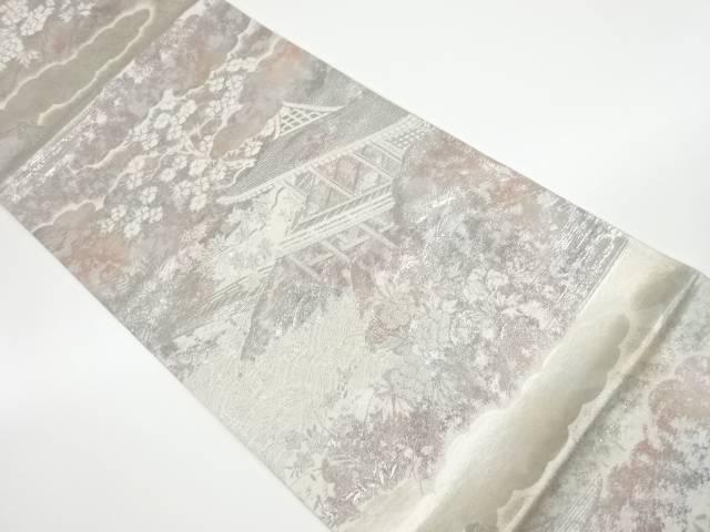 合計3980円以上の購入で送料無料 4年保証 風景模様織出し袋帯 リサイクル 実物 中古