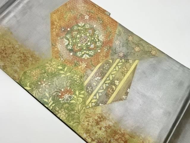 驚きの価格が実現 合計3980円以上の購入で送料無料 螺鈿金駒刺繍切嵌風華文に花々模様袋帯 リサイクル 期間限定で特別価格 中古