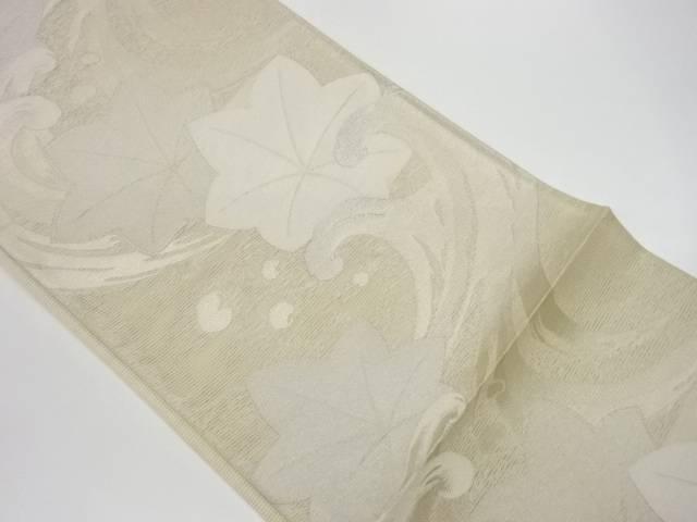 正規販売店 合計3980円以上の購入で送料無料 姫野織物製 新作製品、世界最高品質人気! 絽荒波に楓模様織出し袋帯 リサイクル 中古