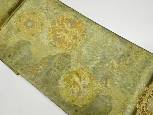 華紋に向かい鳳凰紋様織出し袋帯【リサイクル】【中古】