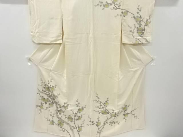 合計3980円以上の購入で送料無料 2020 新作 アウトレット 枝梅模様一つ紋着物 重ね衿付き 中古 アンティーク
