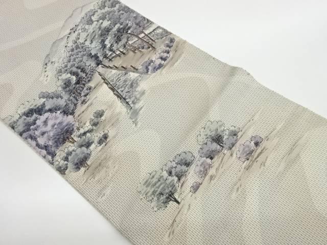 合計3980円以上の購入で送料無料 手描き風景模様袋帯 リサイクル 全店販売中 購買 中古