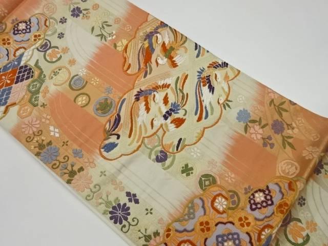 合計3980円以上の購入で送料無料 橋本テル織物製 雲に向かい鳳凰 優先配送 爆安プライス 中古 草花模様織出し袋帯 リサイクル