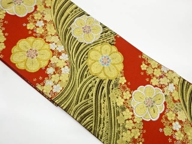合計3980円以上の購入で送料無料 波に花模様織出し袋帯 リサイクル 本物 中古 格安SALEスタート