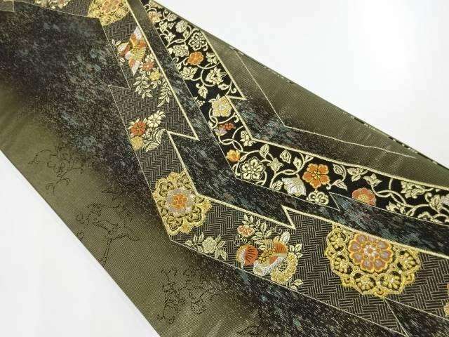合計3980円以上の購入で送料無料 華紋に花鳥模様織出し袋帯 おすすめ 中古 送料無料でお届けします リサイクル