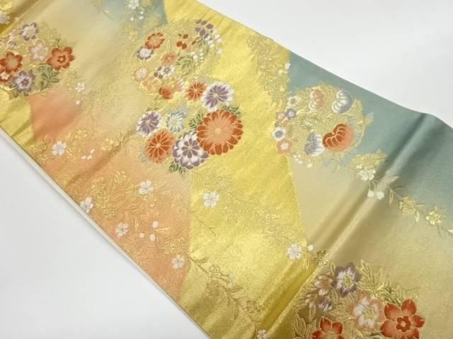 2020 新作 スーパーセール 合計3980円以上の購入で送料無料 枝垂れ桜に花丸文様織出し袋帯 中古 リサイクル