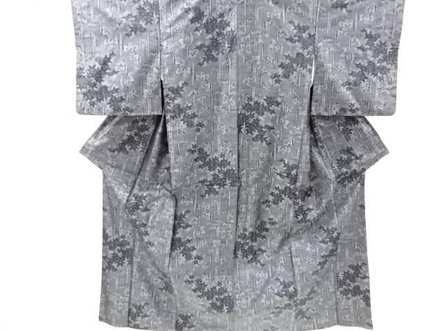 合計3980円以上の購入で送料無料 竹笹に楓模様織り出し本場泥大島紬着物アンサンブル 中古 卸売り リサイクル 無料