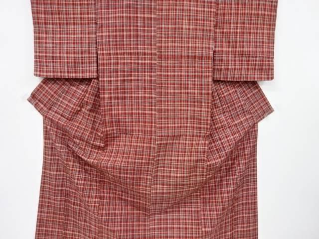 お洒落 受注生産品 合計3980円以上の購入で送料無料 格子織り出し手織り紬着物 アンティーク 中古
