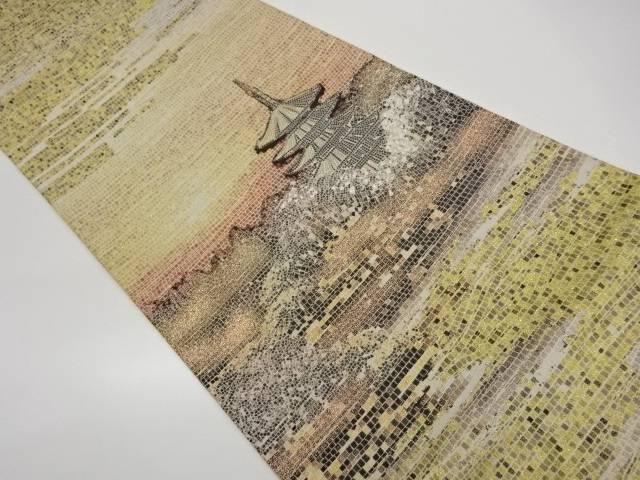 大規模セール 送料無料激安祭 合計3980円以上の購入で送料無料 五重塔に風景模様織出し袋帯 中古 リサイクル