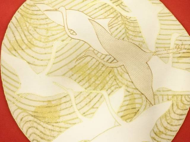 合計3980円以上の購入で送料無料 大規模セール 塩瀬群鶴模様刺繍名古屋帯 バーゲンセール アンティーク 中古