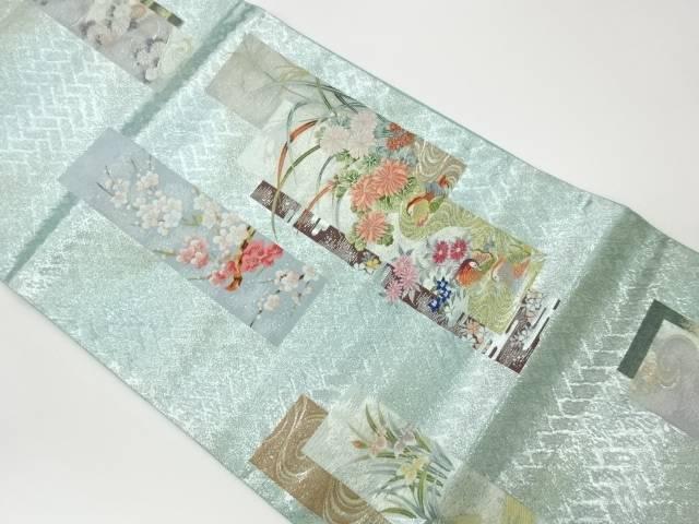 合計3980円以上の購入で送料無料 半額 短冊に花々 鴛鴦模様織出し袋帯 中古 デポー リサイクル