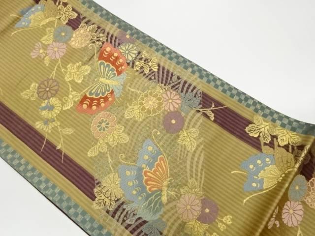 限定品 合計3980円以上の購入で送料無料 波に蝶 花々模様織出し袋帯 中古 付与 リサイクル